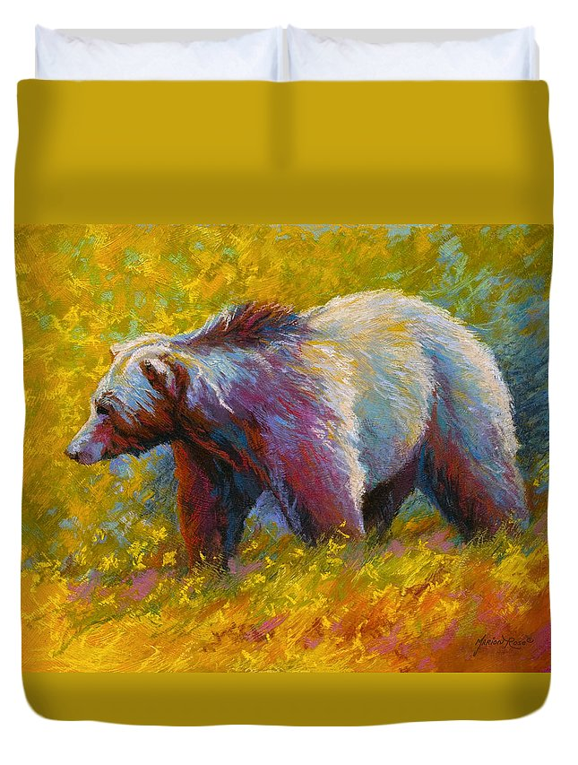 Western Duvet Cover featuring the painting The Wandering One - Grizzly Bear by Marion Rose