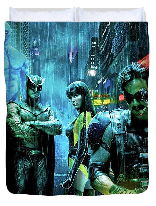 The Watchmen Duvet Cover featuring the photograph The Watchmen,nite Owl, Silk Spectre II, Roschach, Dr. Manhattan, Ozymandias, The Comedian by Thomas Pollart