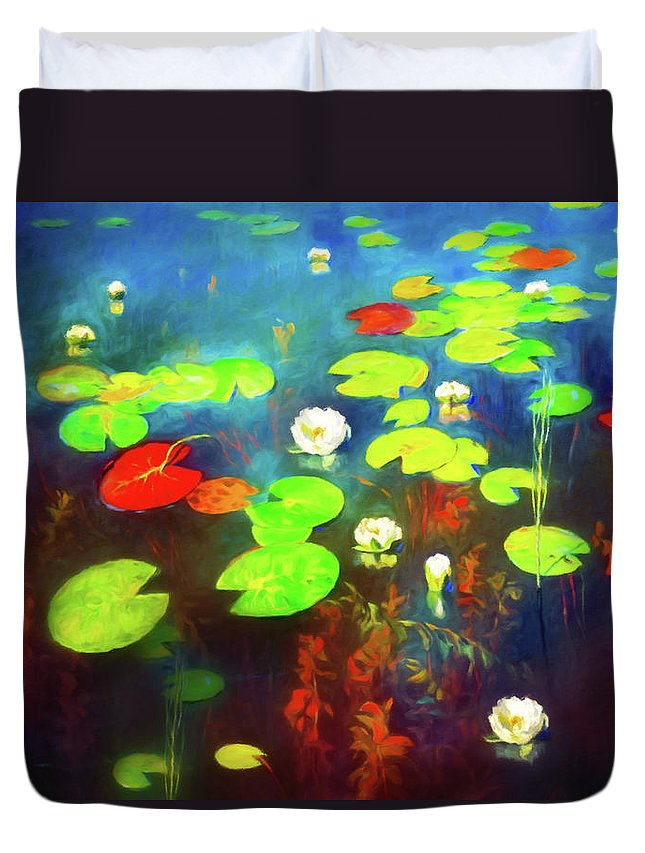 The Water Lily Pond Duvet Cover featuring the mixed media The Water Lily Pond by Georgiana Romanovna