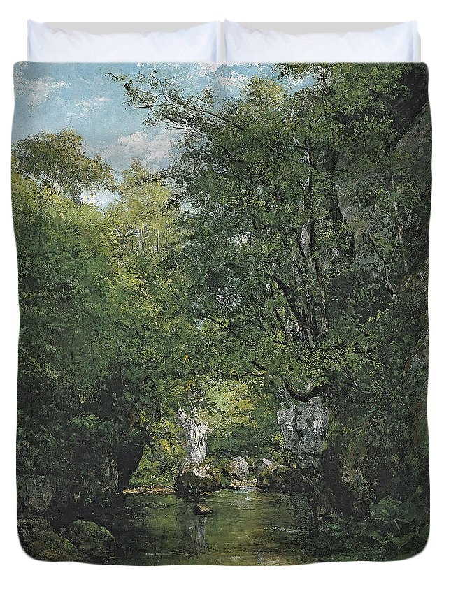 Makeup Duvet Cover featuring the painting The Water Stream, La Breme by Gustave Courbet