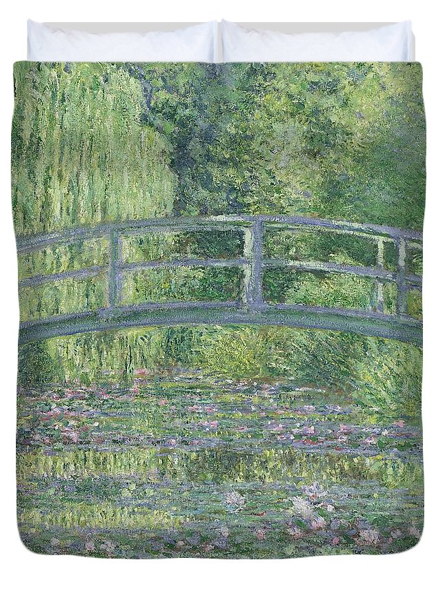 The Duvet Cover featuring the painting The Waterlily Pond by Claude Monet