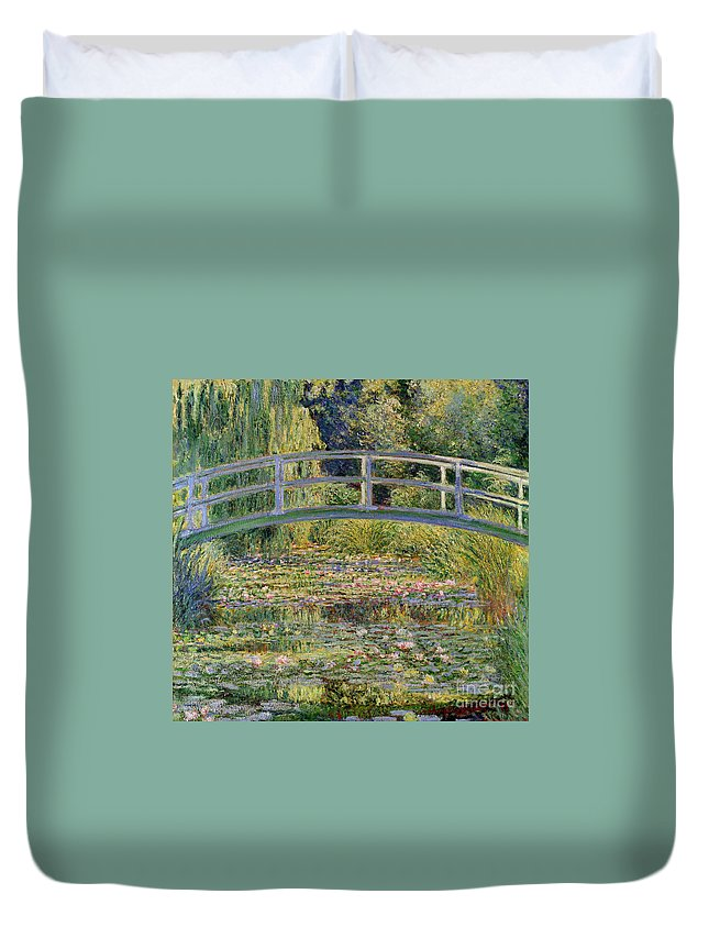 The Duvet Cover featuring the painting The Waterlily Pond with the Japanese Bridge by Claude Monet