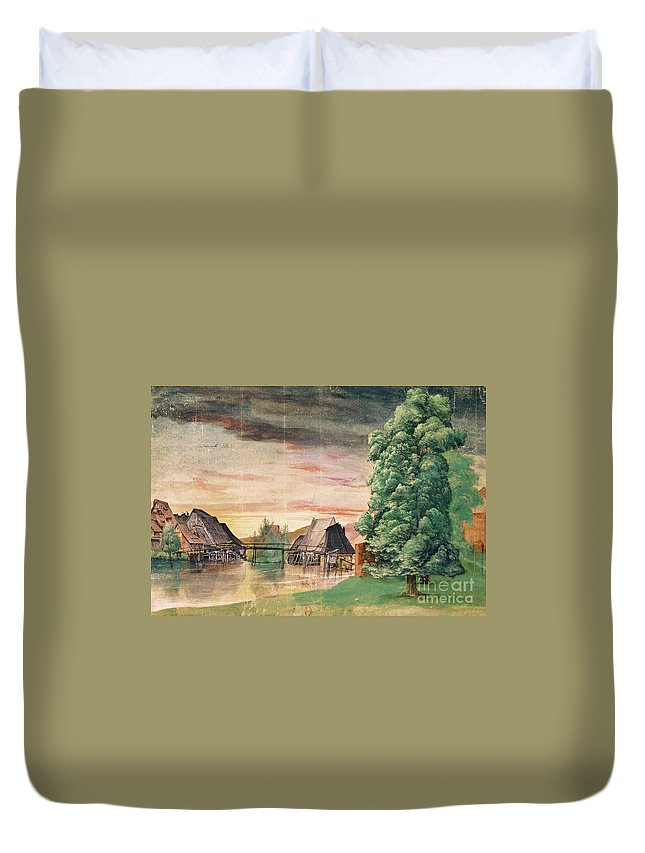 Albrecht Durer Duvet Cover featuring the painting The Watermill by MotionAge Designs