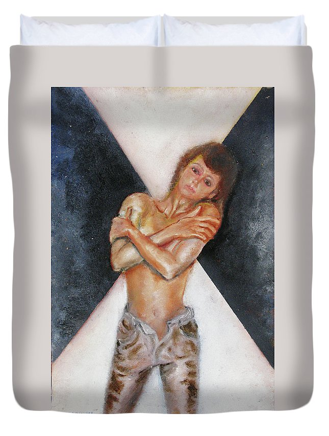 Females Duvet Cover featuring the painting The Way You Make Me Feel by Tom Conway