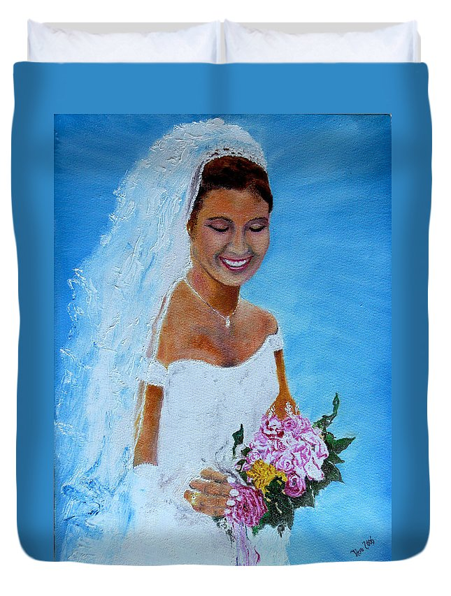Wedding Duvet Cover featuring the painting the wedding day of my daughter Daniela by Helmut Rottler