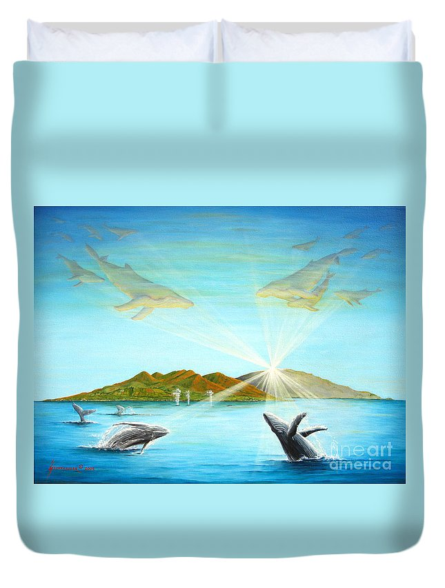 Whales Duvet Cover featuring the painting The Whales Of Maui by Jerome Stumphauzer