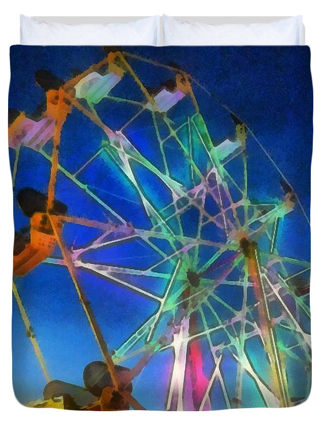Ferris Wheel Duvet Cover featuring the painting The Wheel by RC DeWinter