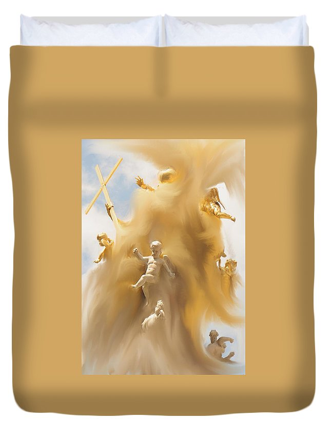 Religion Duvet Cover featuring the digital art The Whirlwind by Ian MacDonald