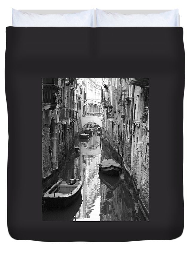 Venice Duvet Cover featuring the photograph The White Bridge by Donna Corless