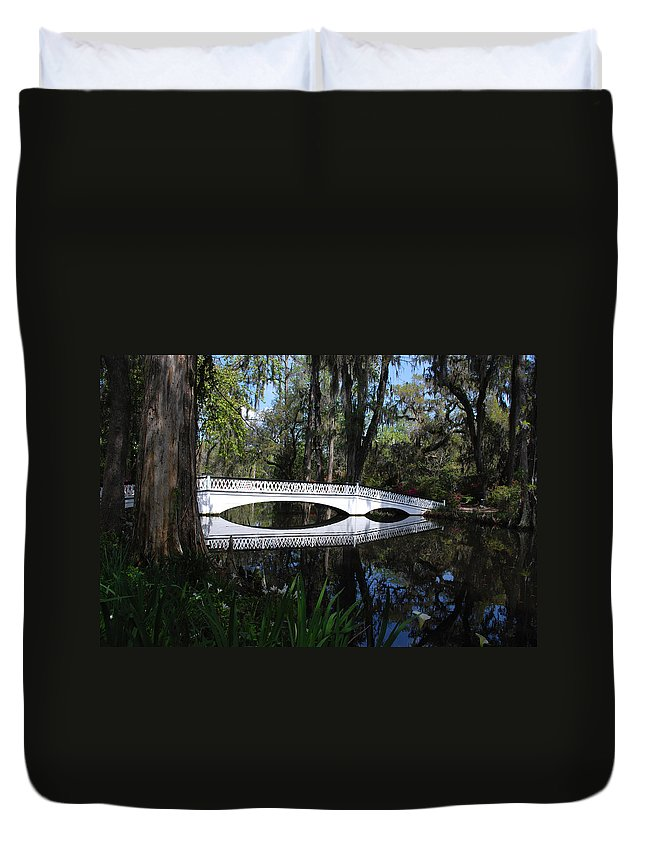 Photography Duvet Cover featuring the photograph The White Bridge In Magnolia Gardens Charleston by Susanne Van Hulst