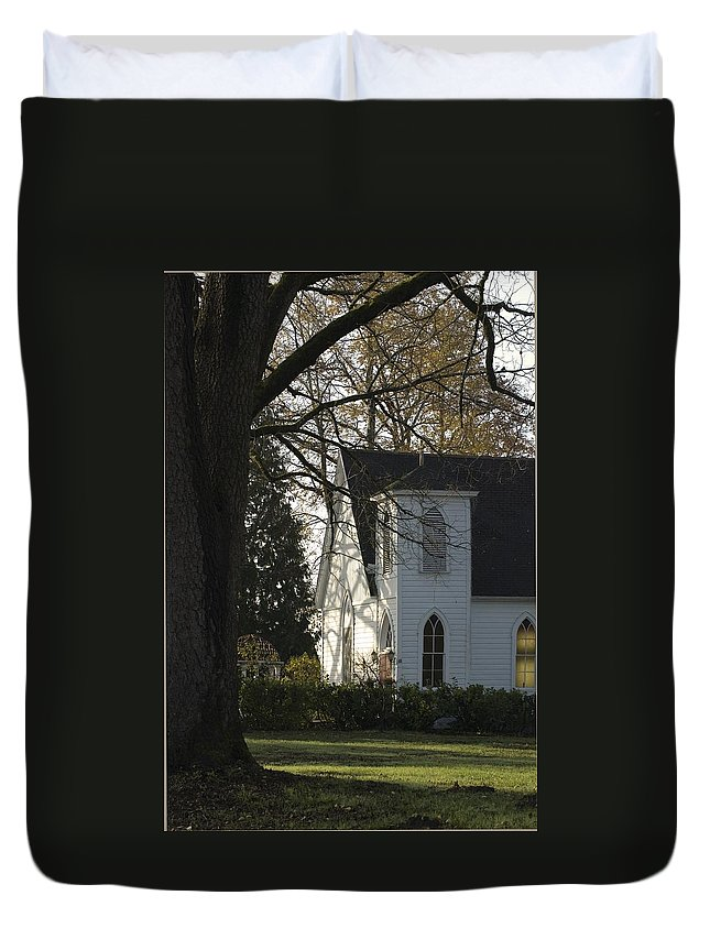 Church Duvet Cover featuring the photograph The White Church by Sara Stevenson