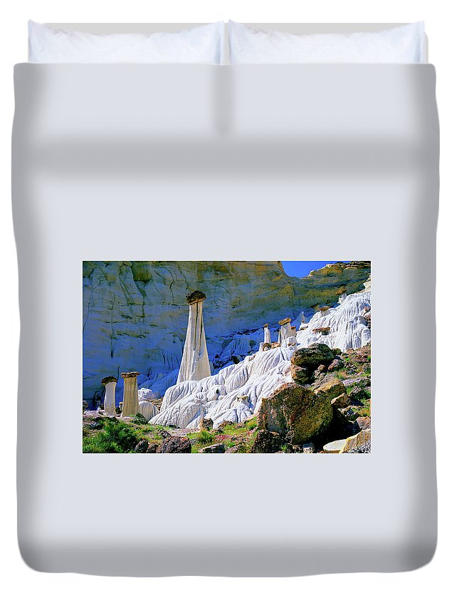 Utah Duvet Cover featuring the photograph The White Hoodoos by Frank Houck