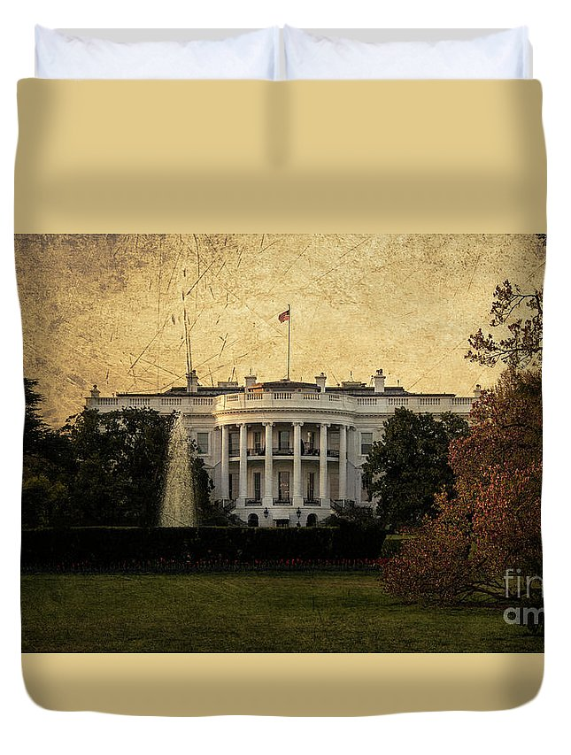 White Duvet Cover featuring the photograph The White House by Rob Hawkins