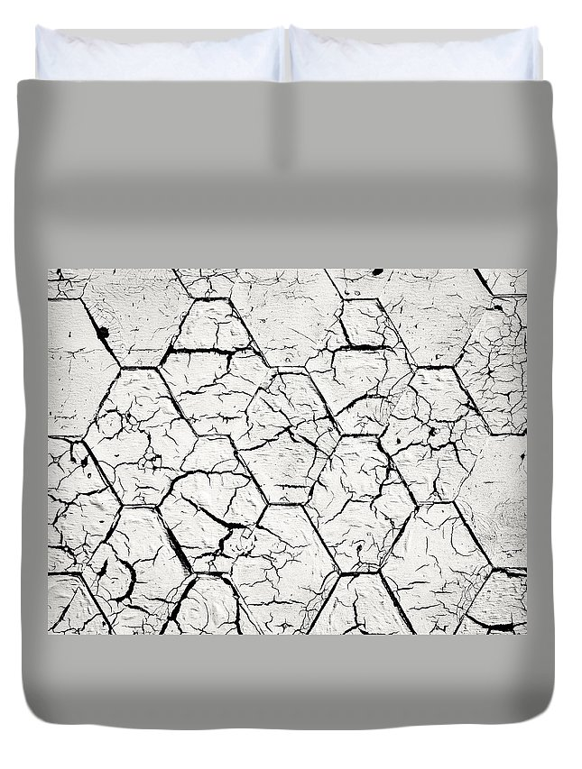 Roof Duvet Cover featuring the photograph The White Painted Asphalt Shingle by Jozef Jankola