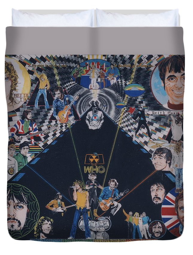 Pete Townshend;roger Daltrey;john Entwistle;keith Moon;quadrophenia;opera;story;four;music;guitars;lasers;mods;rockers;london;brighton;1964 Duvet Cover featuring the drawing The Who - Quadrophenia by Sean Connolly