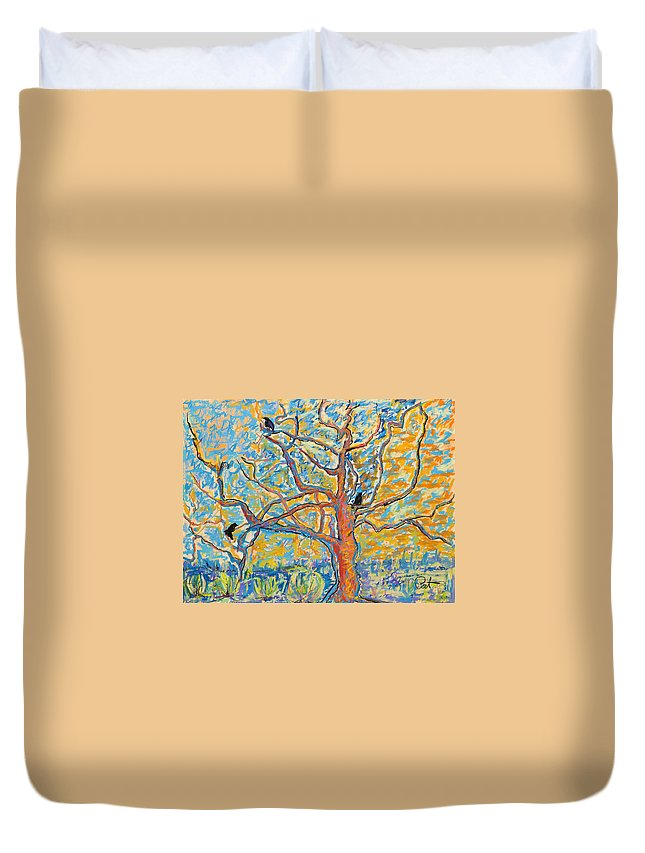 Abstract Painting Duvet Cover featuring the mixed media The Wind Dancers by Pat Saunders-White