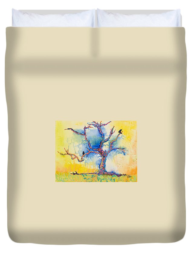 Abstract Painting Duvet Cover featuring the mixed media The Wind Riders by Pat Saunders-White