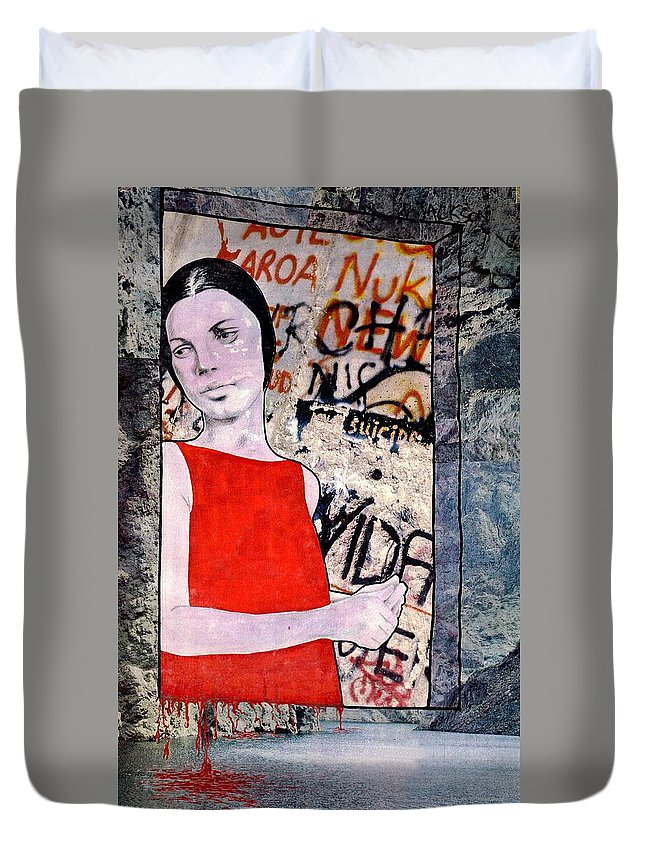 Woman Window Wall Water Blood Life Duvet Cover featuring the mixed media The Window by Veronica Jackson