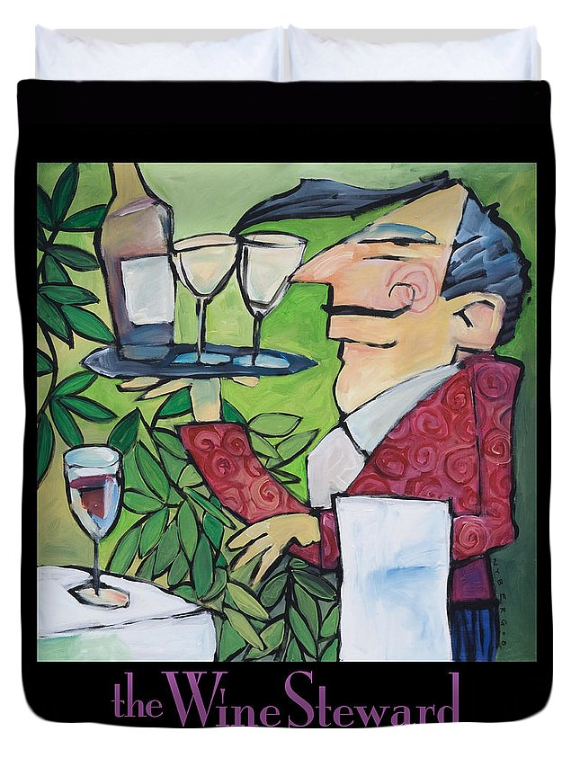 Wine Duvet Cover featuring the painting The Wine Steward - Poster by Tim Nyberg