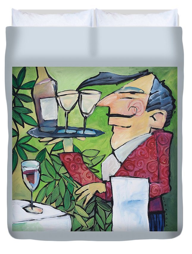 Wine Duvet Cover featuring the painting The Wine Steward by Tim Nyberg