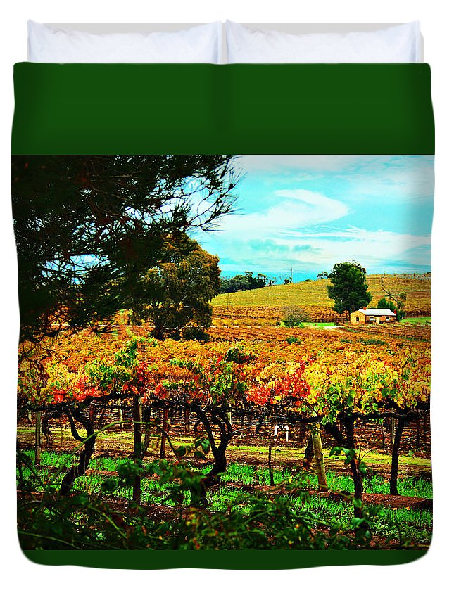 Cottage Duvet Cover featuring the photograph The Winemakers Residence by Douglas Barnard