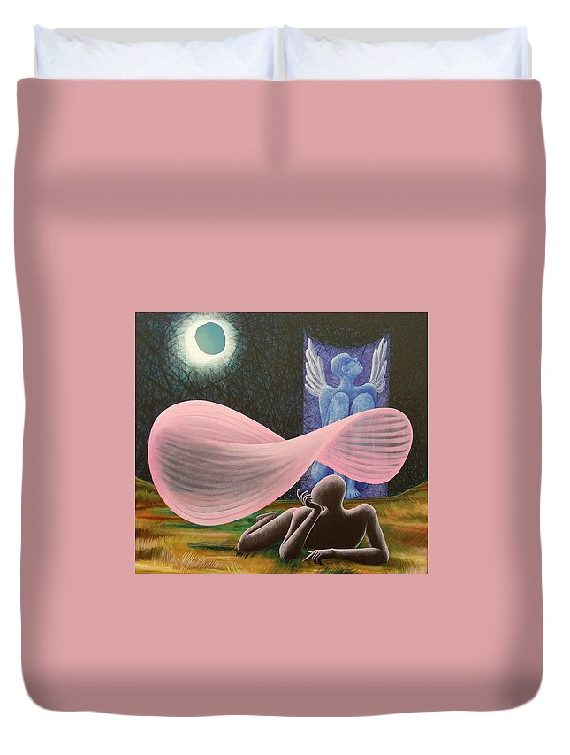 Romantic Duvet Cover featuring the painting The Wings by Raju Bose