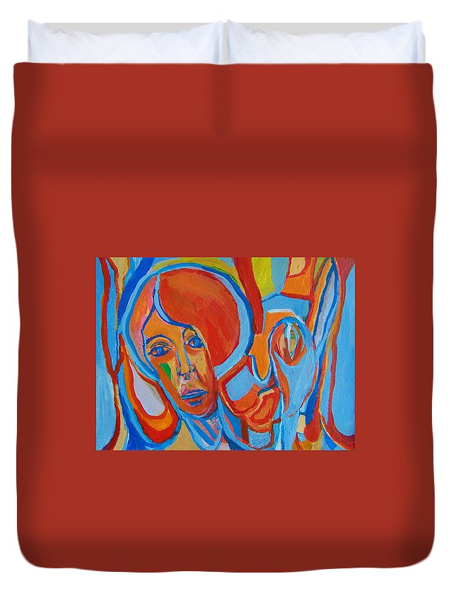 Woman Duvet Cover featuring the painting The Woman With The Red Soul by Judith Redman