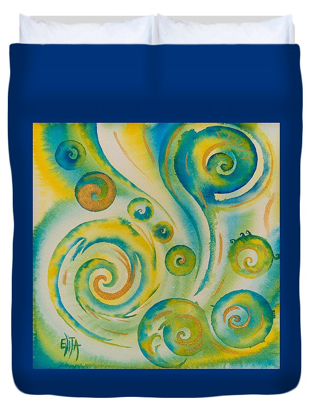 Abstract Duvet Cover featuring the painting The Wonder by Evita Kristapsone