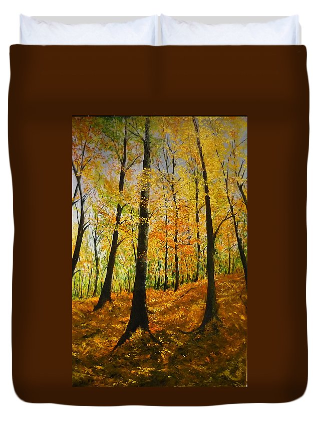 Fall Duvet Cover featuring the painting The Wood For The Trees by Lizzy Forrester
