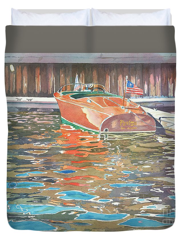 Boats Duvet Cover featuring the painting The Wooden Boat by LeAnne Sowa