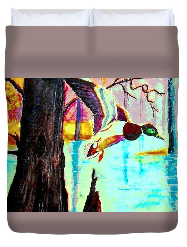 Mallard Duck Duvet Cover featuring the painting The Woodland Pond by Hazel Holland
