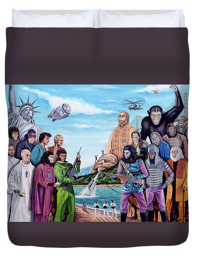 Planet Of The Apes Duvet Cover featuring the painting The World Of The Planet Of The Apes by Tony Banos