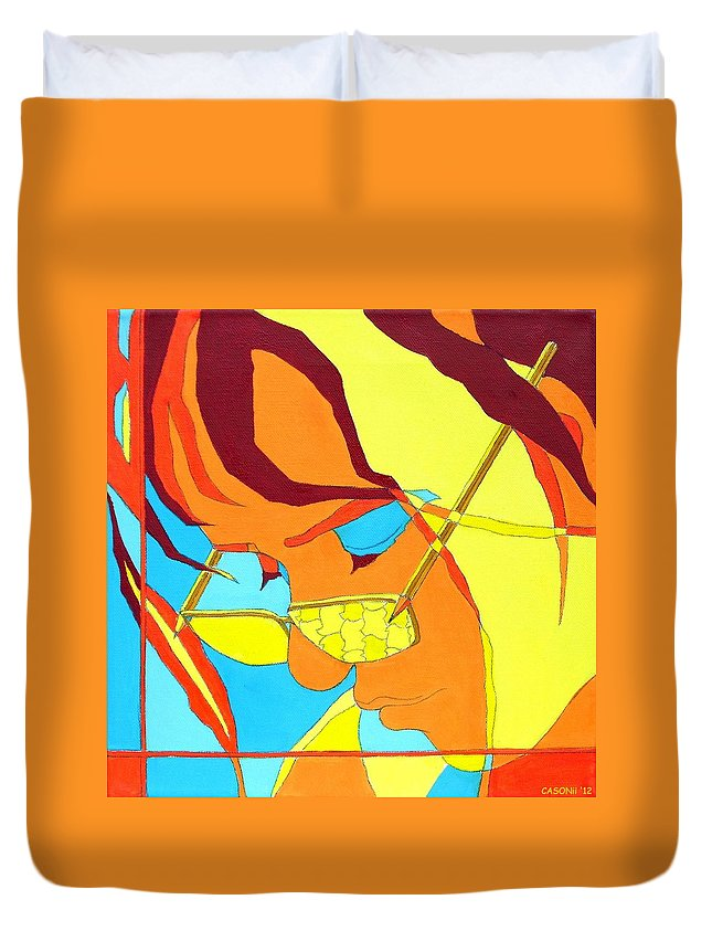 Portrait Duvet Cover featuring the painting The World Trough Sonjas Glasses by Casoni Ibolya