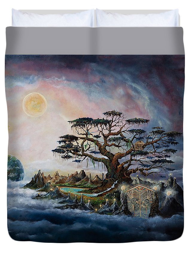 Landscape Duvet Cover featuring the painting The Worldsaver by Krakowski Conny