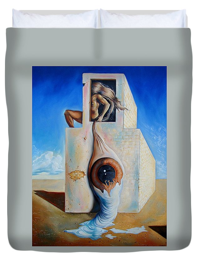 Duvet Cover featuring the painting The Worst Blind by Darwin Leon