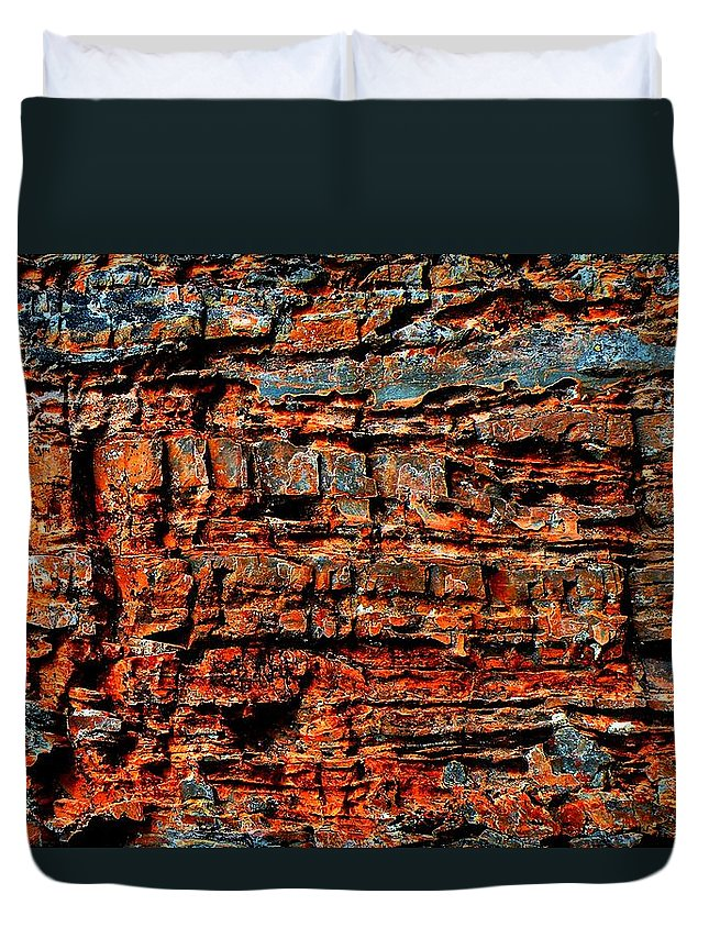 Glacier. National Duvet Cover featuring the photograph The Writing Is On The Wall by Dave Martsolf