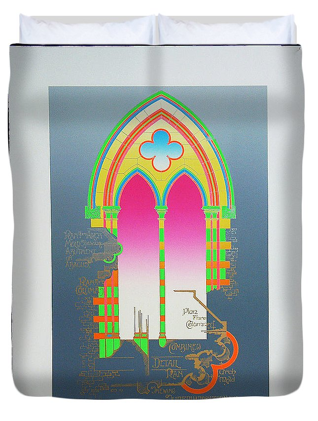 Church Duvet Cover featuring the mixed media The Wurlitzer Window by Charles Stuart