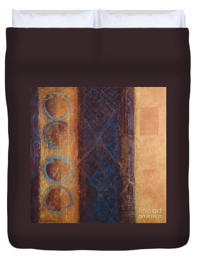 Abstract Duvet Cover featuring the painting The X Factor Alchemy Of Consciousness by Kerryn Madsen-Pietsch