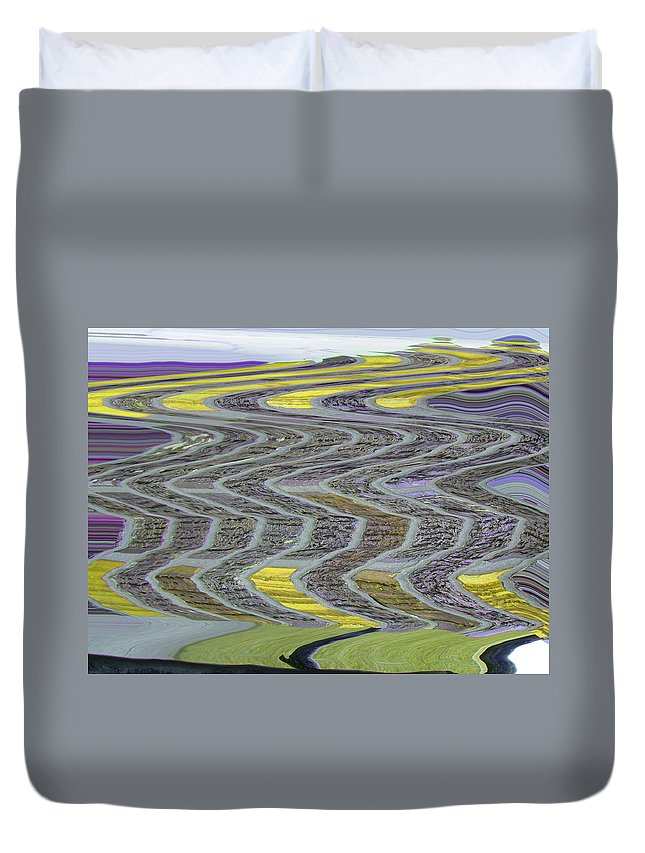 Abstract Duvet Cover featuring the digital art The Yellow Brick Road by Lenore Senior