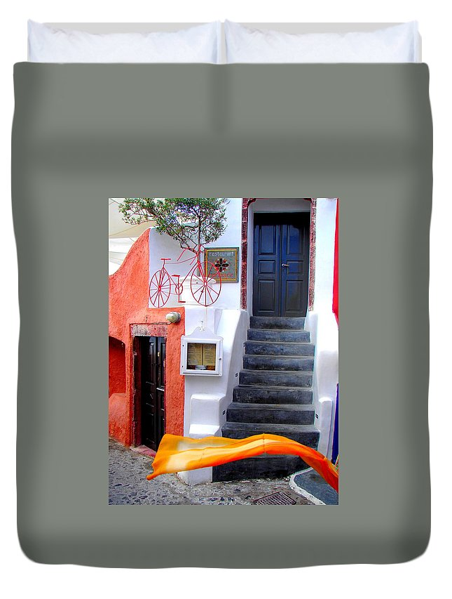 Santorini Duvet Cover featuring the photograph The Yellow Scarf by Ana Maria Edulescu