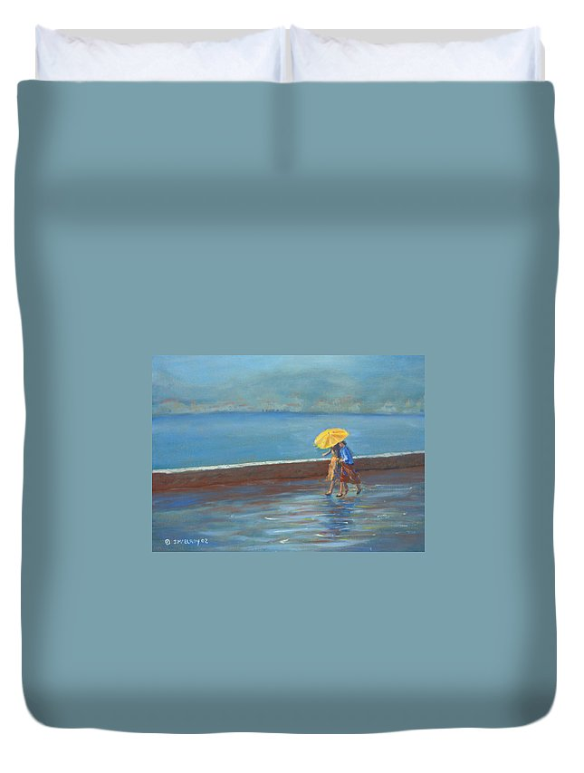 Rain Duvet Cover featuring the painting The Yellow Umbrella by Jerry McElroy