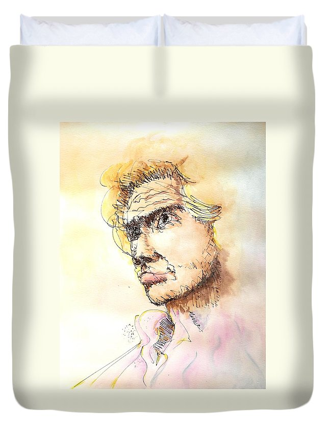 Man Duvet Cover featuring the painting The Young Prince by Dave Martsolf