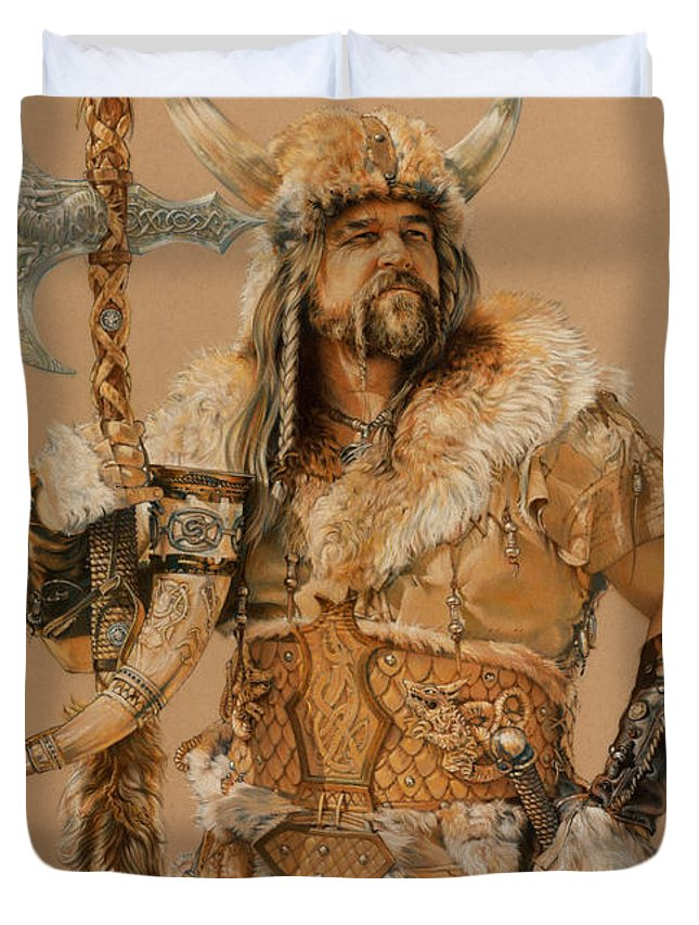 Viking Duvet Cover featuring the painting The Young Son Of Bor by Steven Paul Carlson