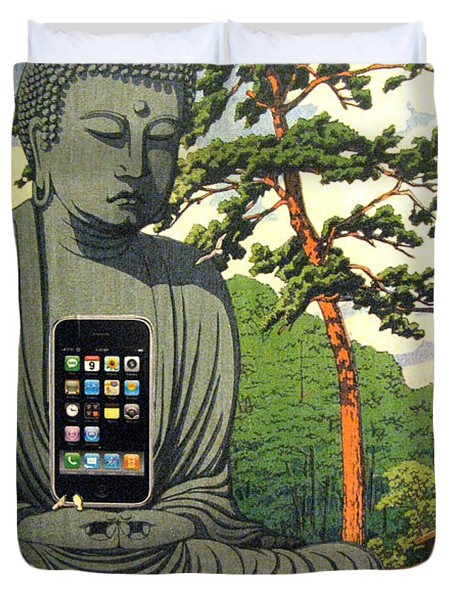 Collage Duvet Cover featuring the digital art The Zen Of Iphone by John Vincent Palozzi