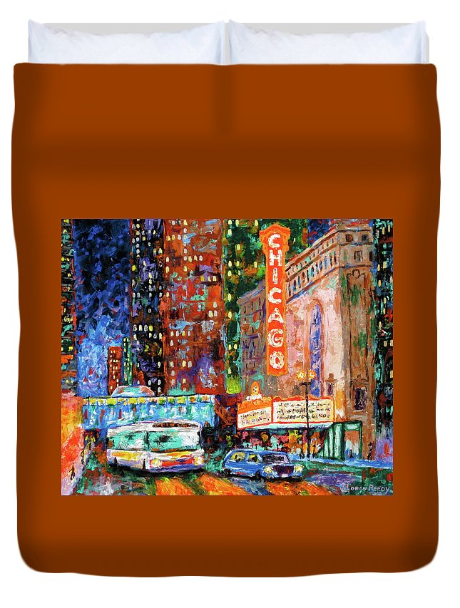 Chicago Theater Duvet Cover featuring the painting Theater Night by J Loren Reedy