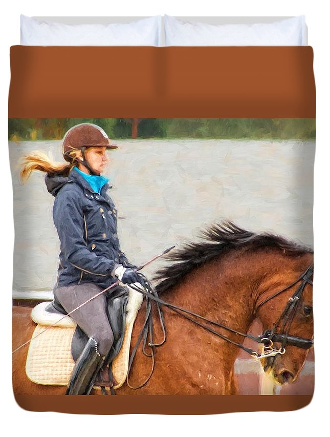 Alicegipsonphotographs Duvet Cover featuring the photograph Their Manes Flying by Alice Gipson