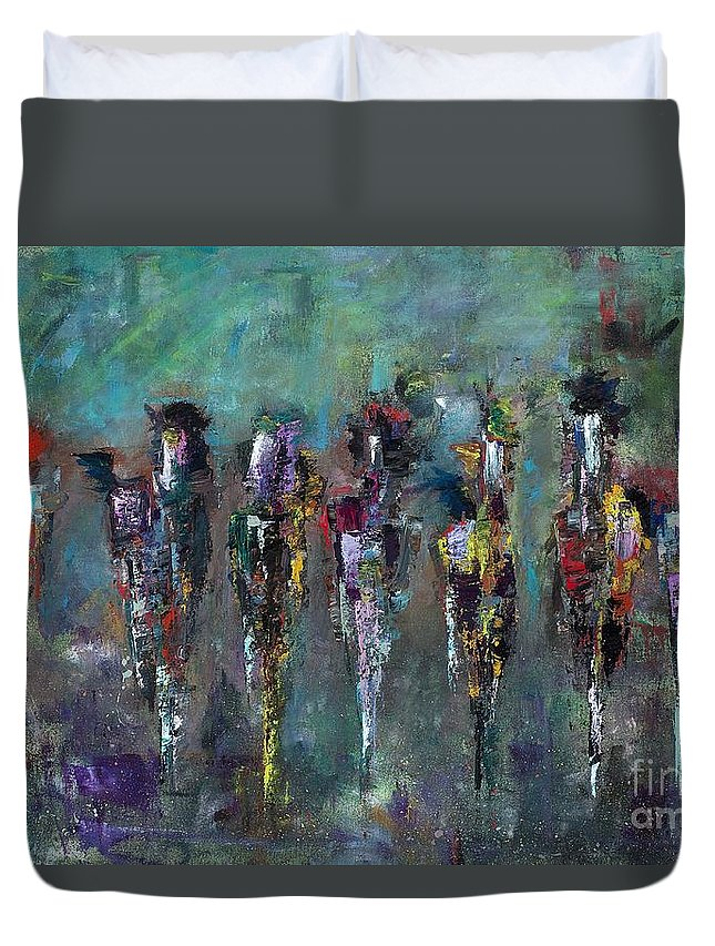 Abstract Art Duvet Cover featuring the painting Then Came Seven Horses by Frances Marino
