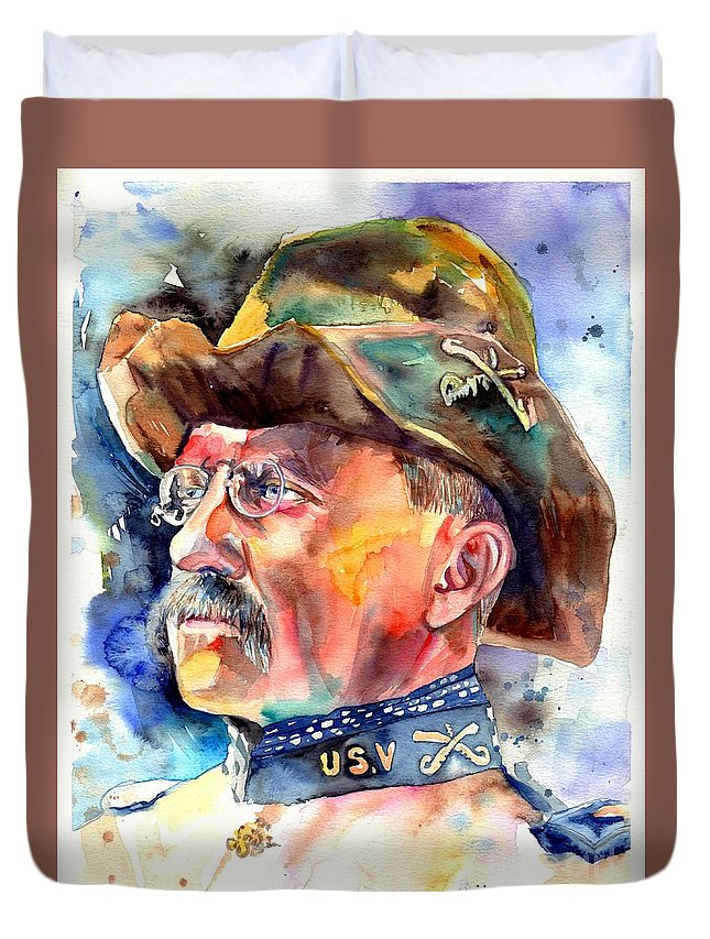 Theodore Roosevelt Duvet Cover featuring the painting Theodore Roosevelt painting by Suzann Sines