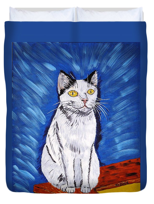 Cat Duvet Cover featuring the painting There Is A Bird by Valerie Ornstein