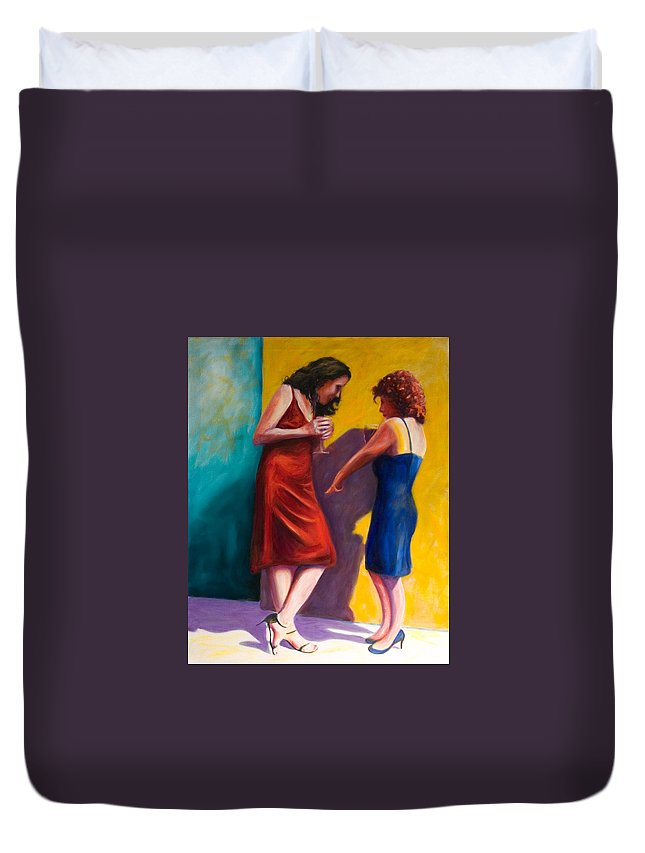 Figurative Duvet Cover featuring the painting There by Shannon Grissom
